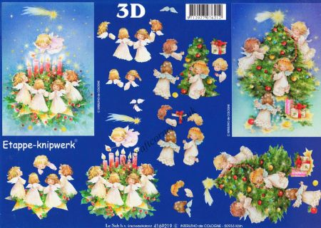 Angels Gathered Around The Christmas Tree Designs 3d Decoupage Sheet